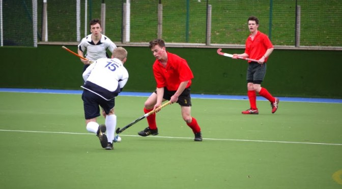 Action from Bromley & Beckenham U18 Boys 5 Harleston Magpies (in red) U18 Boys 1 on Sunday 2 March 2014