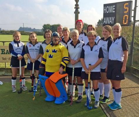 Karen (sixth left) with her triumphant team-mates