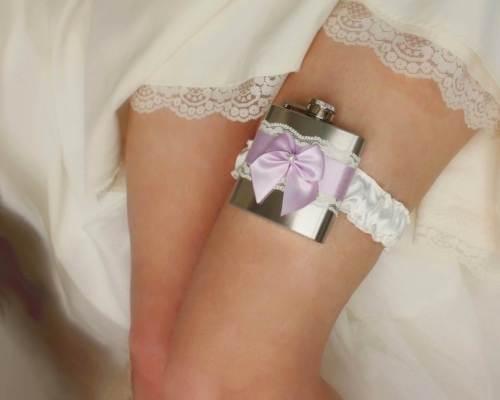 Ivory & Lavender Satin and Lace flask garter via MoonshineBelle