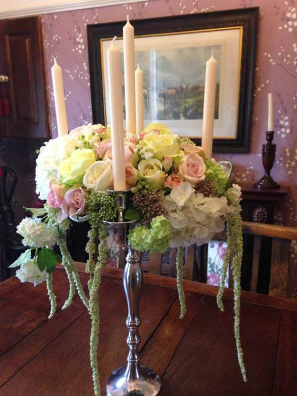Etsy artifical flower ornate candelabra candle holder via National Vintage Wedding Fair blog