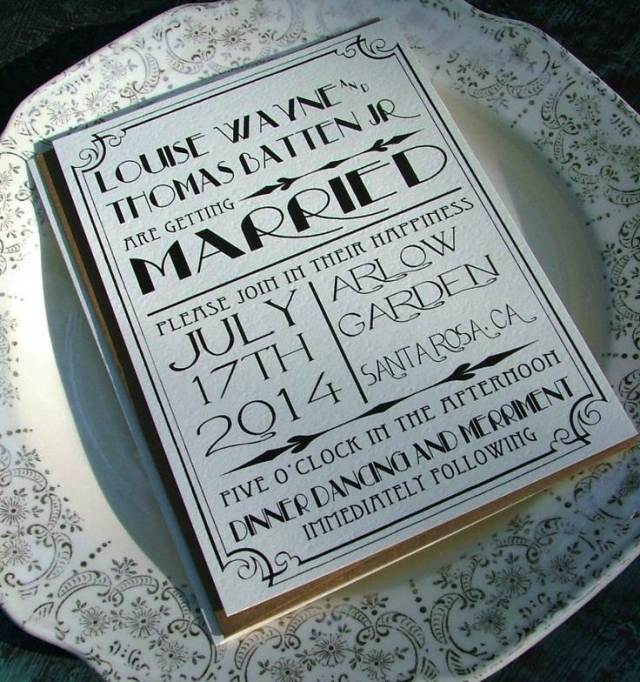 vintage art deco wedding invitation 1920s style from The National Vintage Wedding Fair