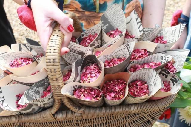 rose petal confetti by Kate Beavis for The National Vintage Wedding Fair