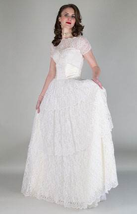 Vintage wedding dress by Authentic Vintage Bridal at the National Vintage Wedding Fair