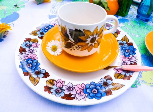 Retro vintage china hire from Peace Love and Daisy Chains at the National Vintage Wedding Fair
