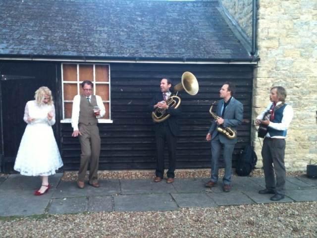 Kate and Adam Beavis dancing to the Swing Ninjas at their vintage wedding