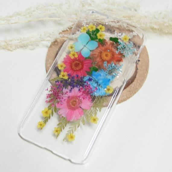 Pressed flowers in phone case as featured on The National Vintage Wedding Fair