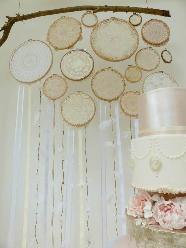 DIY Tutorial How to make a vintage doily wedding wall hanging by The National Vintage Wedding Fair blog 8