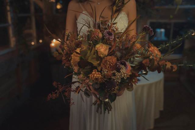 An autumnal wedding Secret Garden Styled Shoot in an upcycled green house