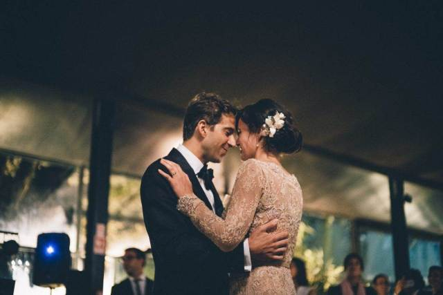A magical Portuguese wedding with a pink lace dress & silk flowers