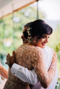 A magical Portuguese wedding with a pink lace dress & satin flowers