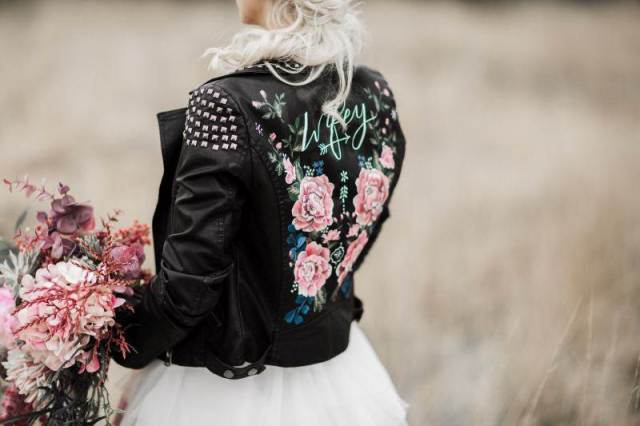 Wearing a painted leather jacket with your wedding dress