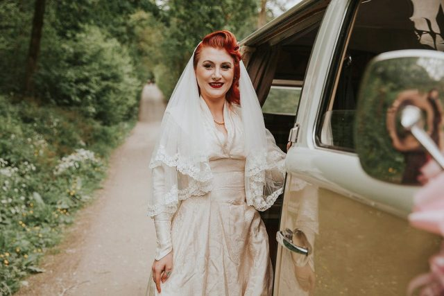 A 1940s vintage wedding and camper van