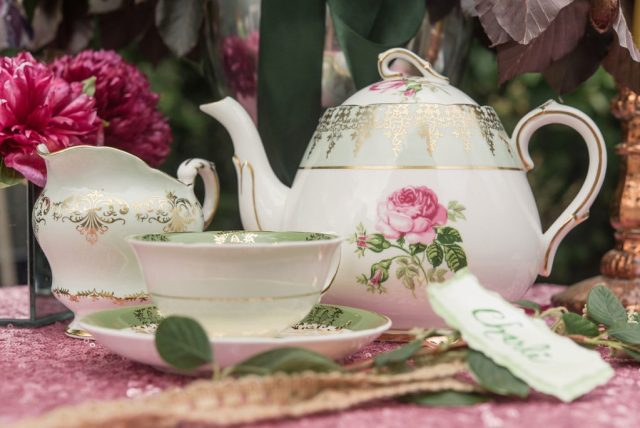 A Pretty Vintage Floral Maximalist Springtime Wedding with vintage china