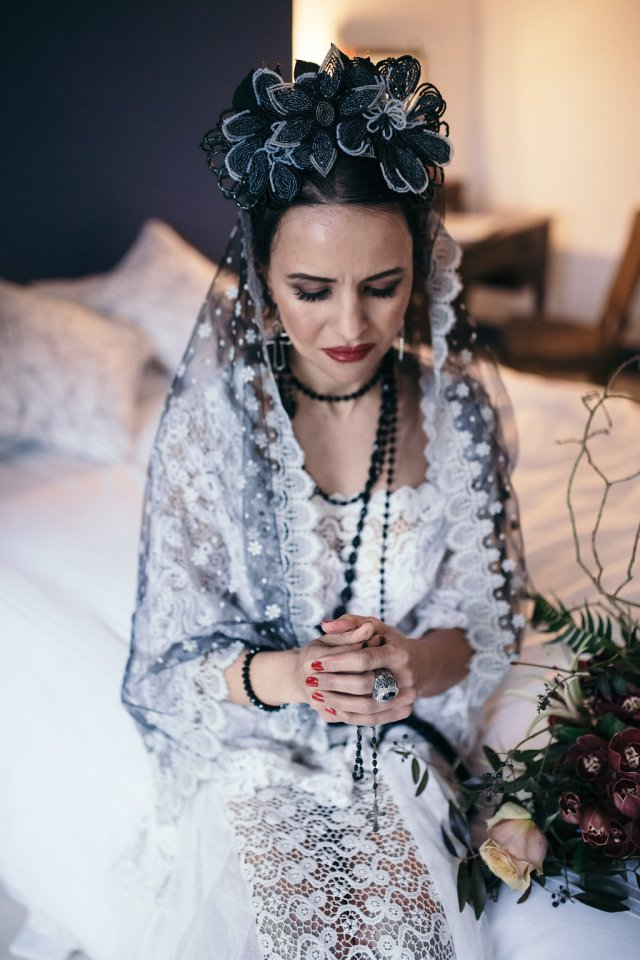 Dark yet Dreamy Alternative Bridal Style Madonna Inspired Shoot