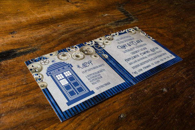 Geeky Wedding Inspiration with Corset Wedding Dresses, Blue Bouquets and a Doctor Who Theme