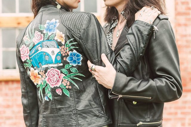 Hand painted leather jackets by Ophelia Rose