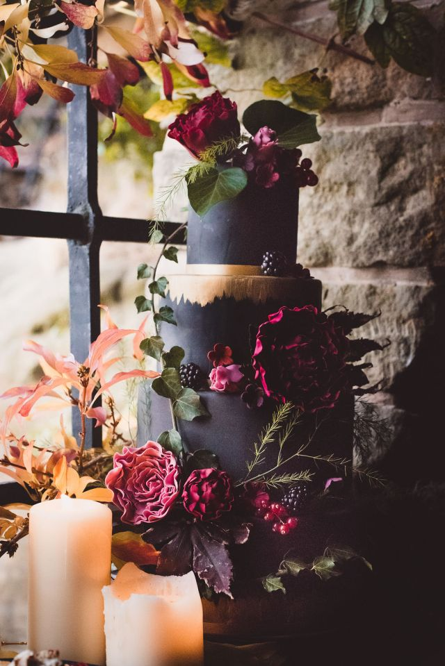 Alternative Winter Wedding Style with Jewelled Cape and Floral Veil