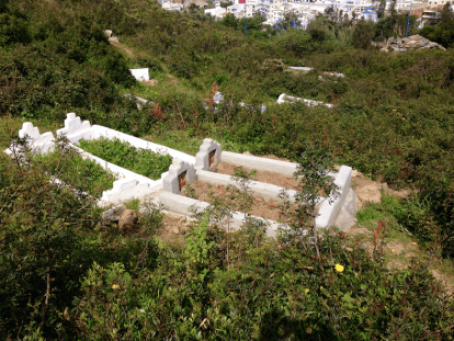 Graves on mountain side