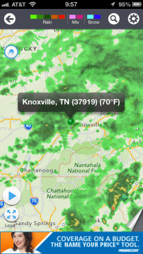 Rainclouds over Knoxville.