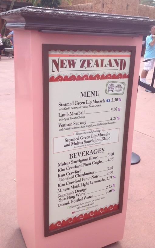 New Zealand menu at Epcot