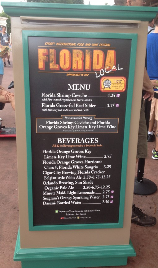 Florida Local Menu at the Epcot International Food and Wine Festival