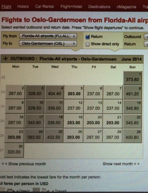 Norweigian Air Shuttle Prices From Florida to Oslo!