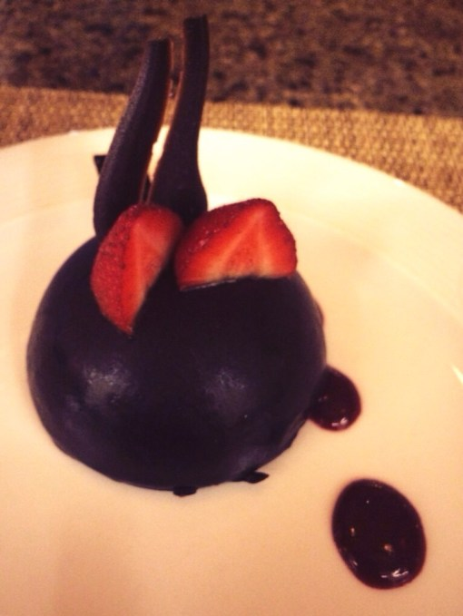 "Chocolate Mousse ""Bomb"" at Fiesta Americana Grand Coral Beach in Cancun, Mexico"