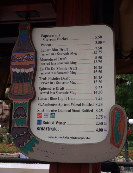 Canada's Beer Cart Menu in Epcot