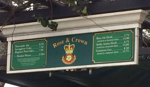 Beer menu for the U.K. in Epcot
