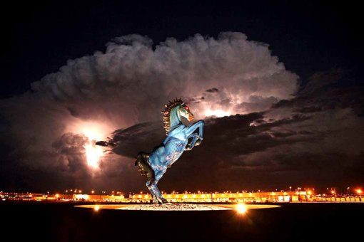 'Blucifer' the blue mustang at the Denver Airport- photo by Eric Golub