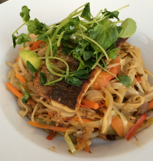 Sea Bass over rice noodles at the Grill Room at the Airth Castle Hotel in Falkirk, Scotland