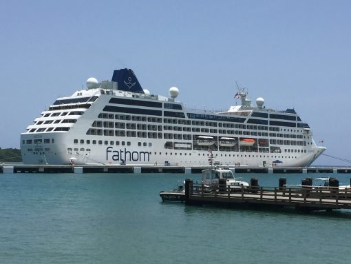 The Fathom Adonia in port at Amber Cove, Dominican Republic