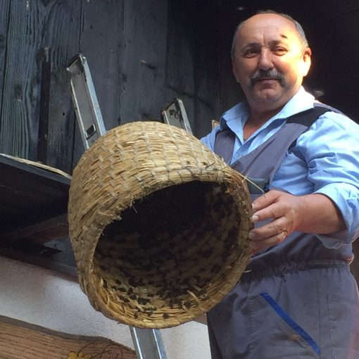Sampling local honey with a 4th generation bee keeper in Slovenia
