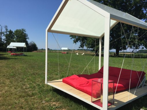 Dreamy outdoor beds at Big Berry in Primostek, Slovenia