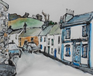 watercolour and pen sketch of an old street