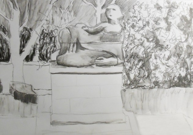 Henry Moore sculpture at Dartington, front view, water-soluble graphite