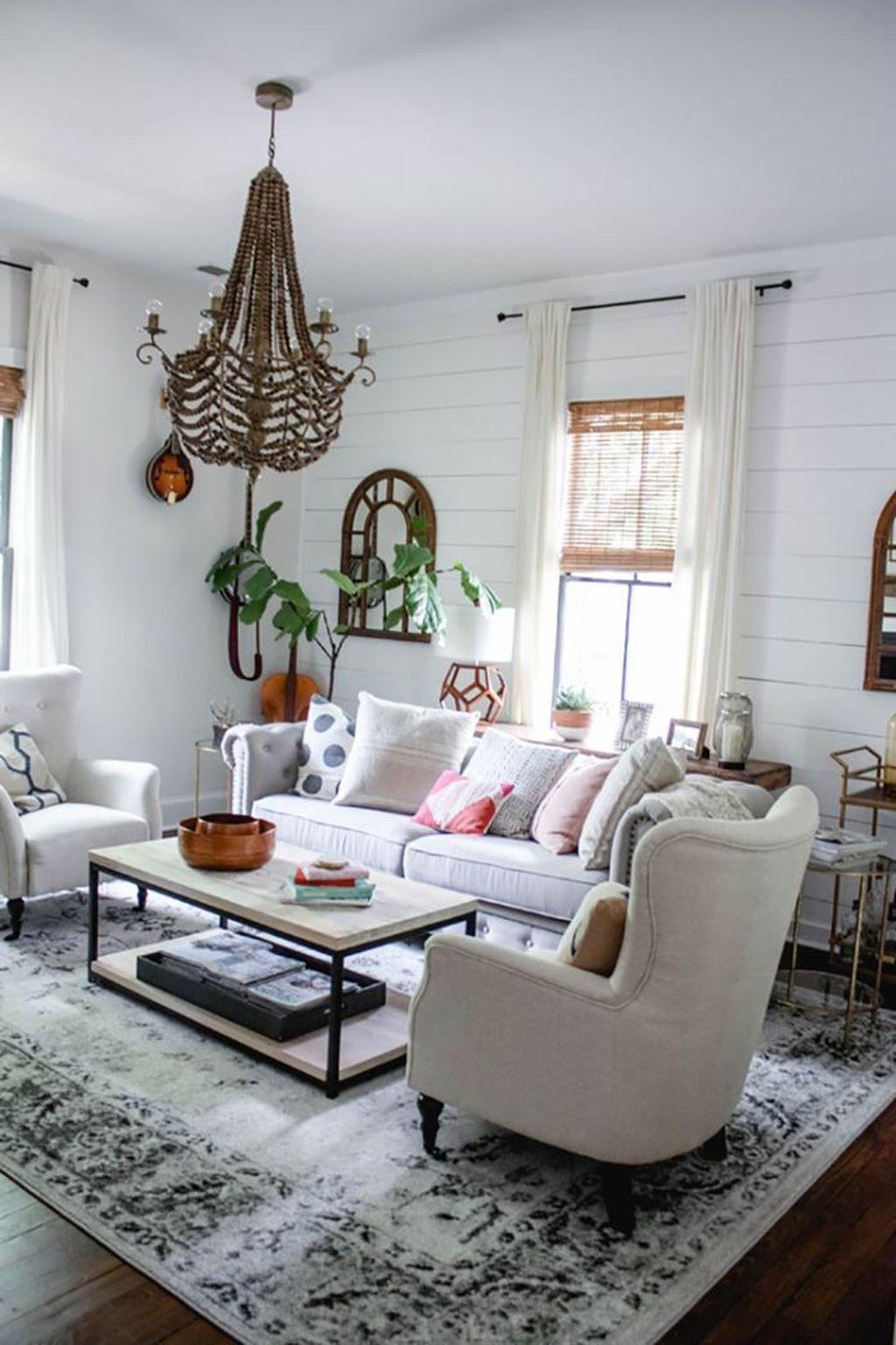 Amazing Bohemian Farmhouse Living Room Design Ideas 25