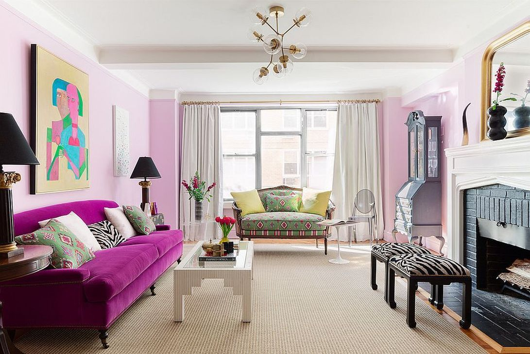 Gorgeous Pink Accent Living Room Decorating Ideas 14