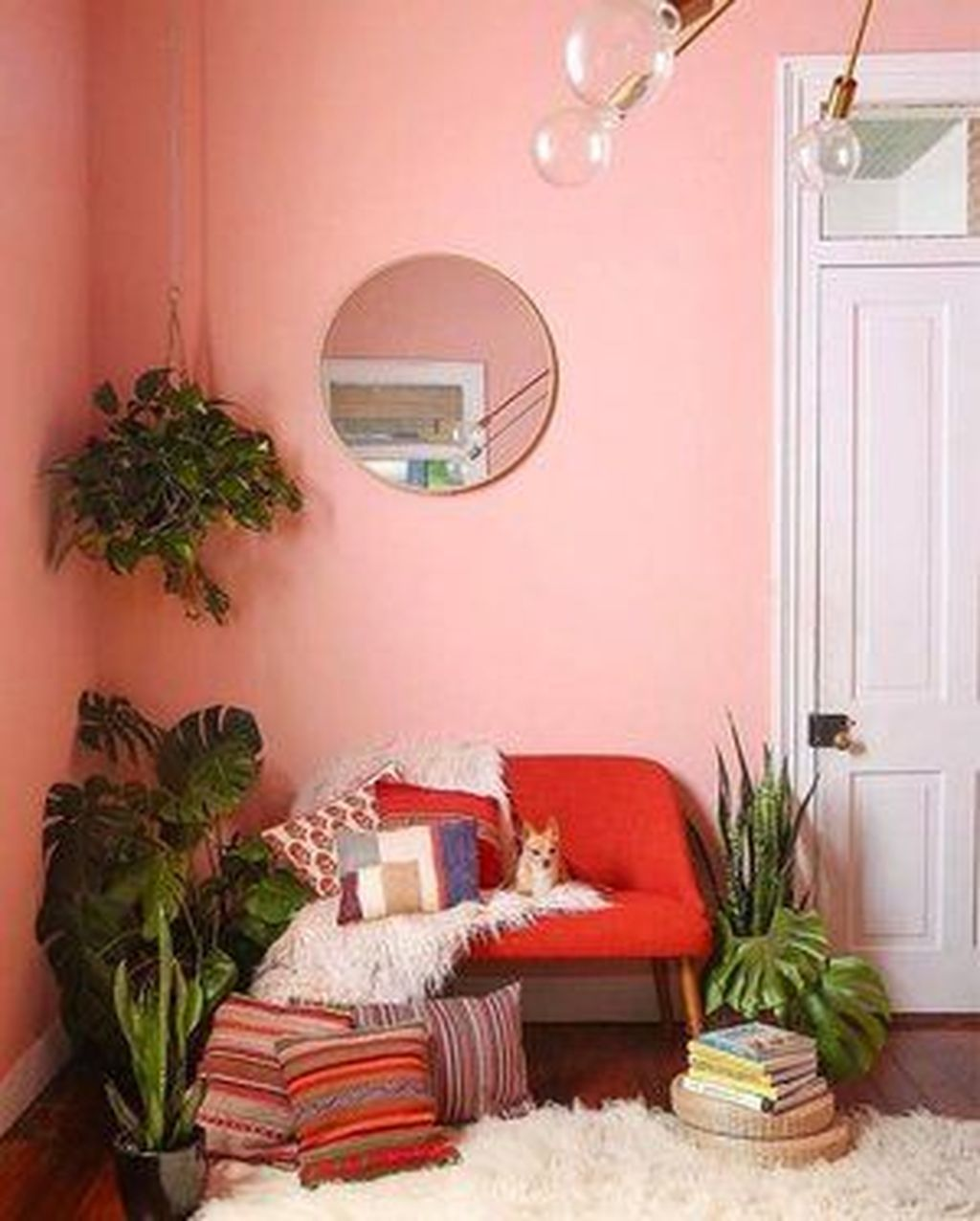 Gorgeous Pink Accent Living Room Decorating Ideas 23