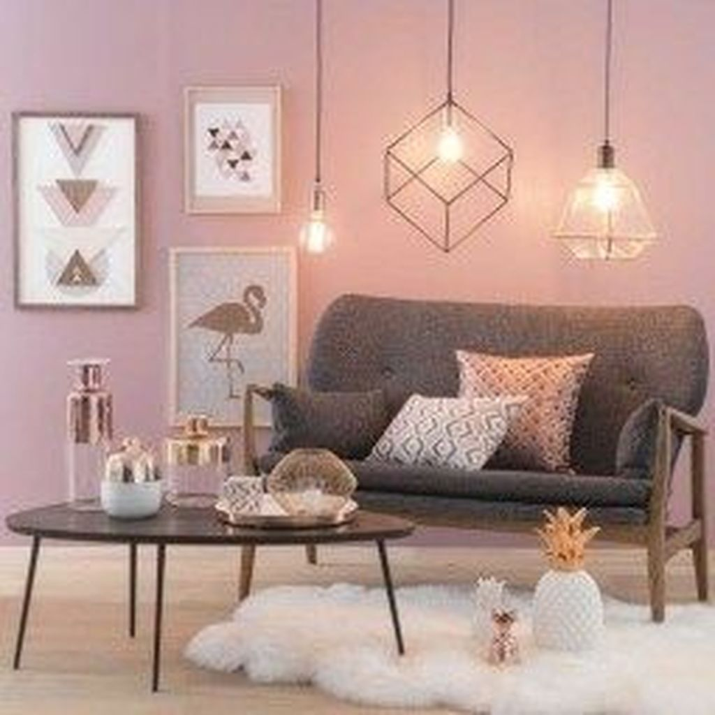 Gorgeous Pink Accent Living Room Decorating Ideas 27