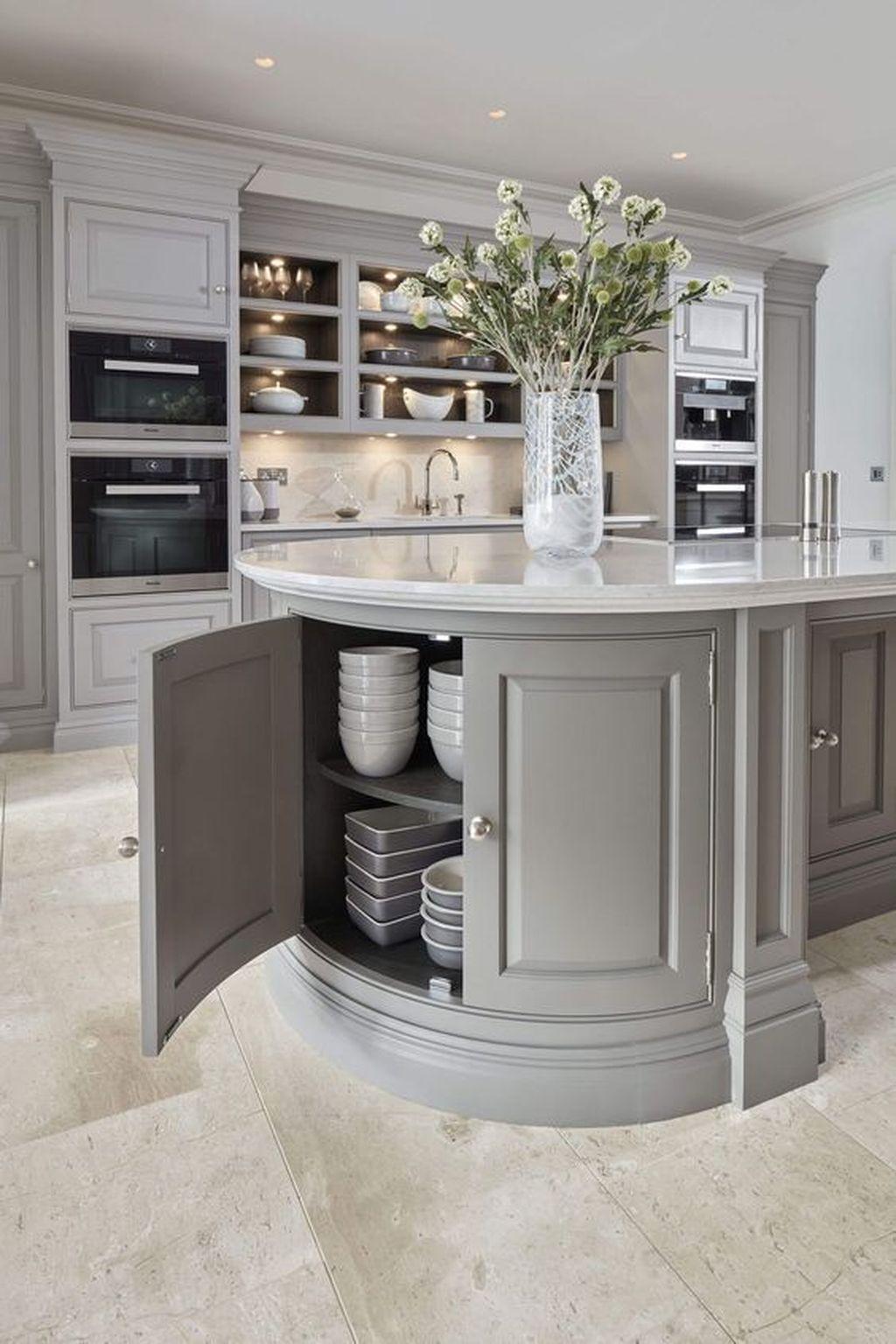 Lovely Grey White Kitchen Design Ideas 24