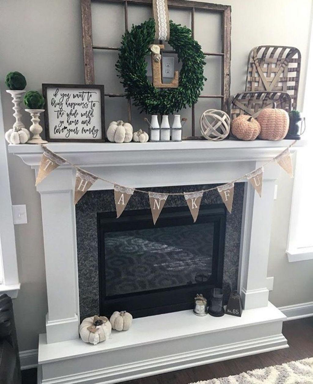 Popular Fall Fireplace Decoration Ideas 14