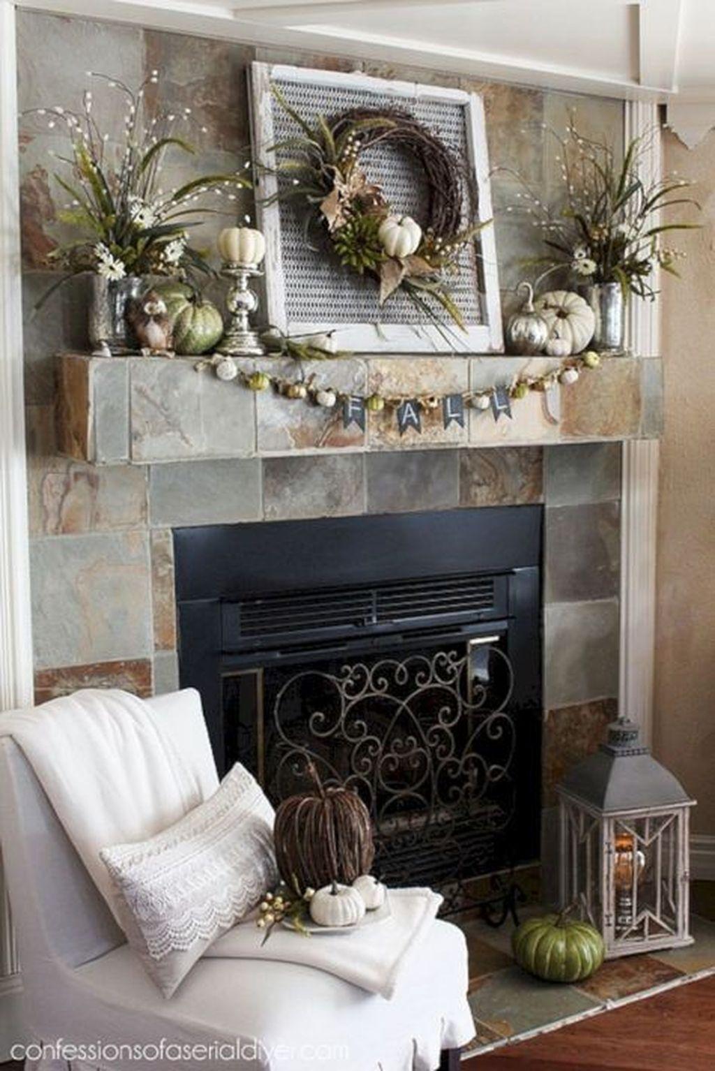 Popular Fall Fireplace Decoration Ideas 19