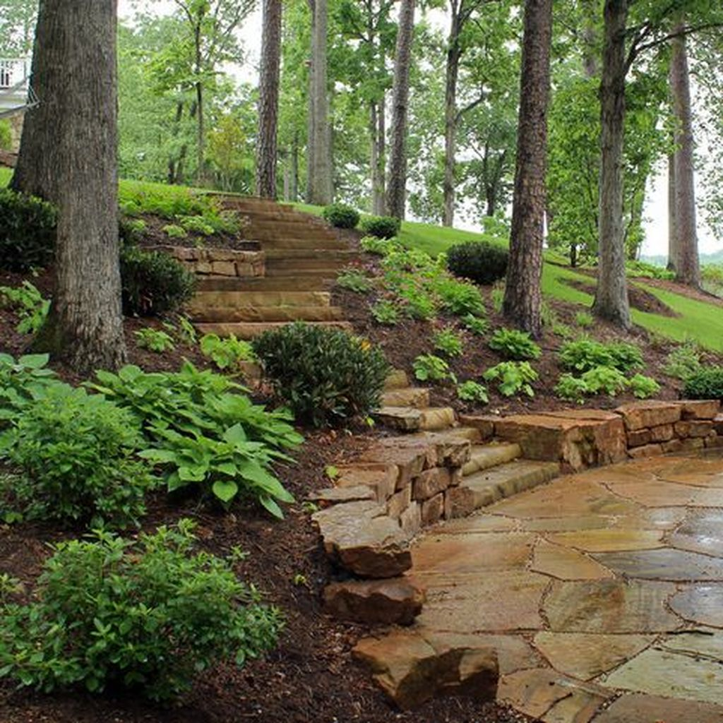 20 Sloped Backyard Design Ideas: 32 Popular Terraced Landscaping Slope Yard Design Ideas