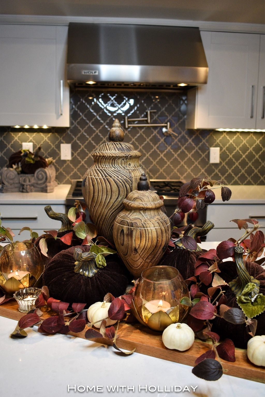 Beautiful Fall Theme Kitchen Island Decor Ideas 01
