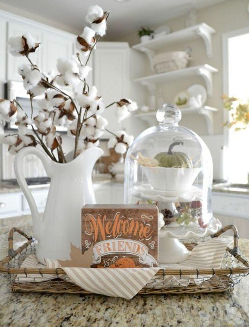 Beautiful Fall Theme Kitchen Island Decor Ideas 13