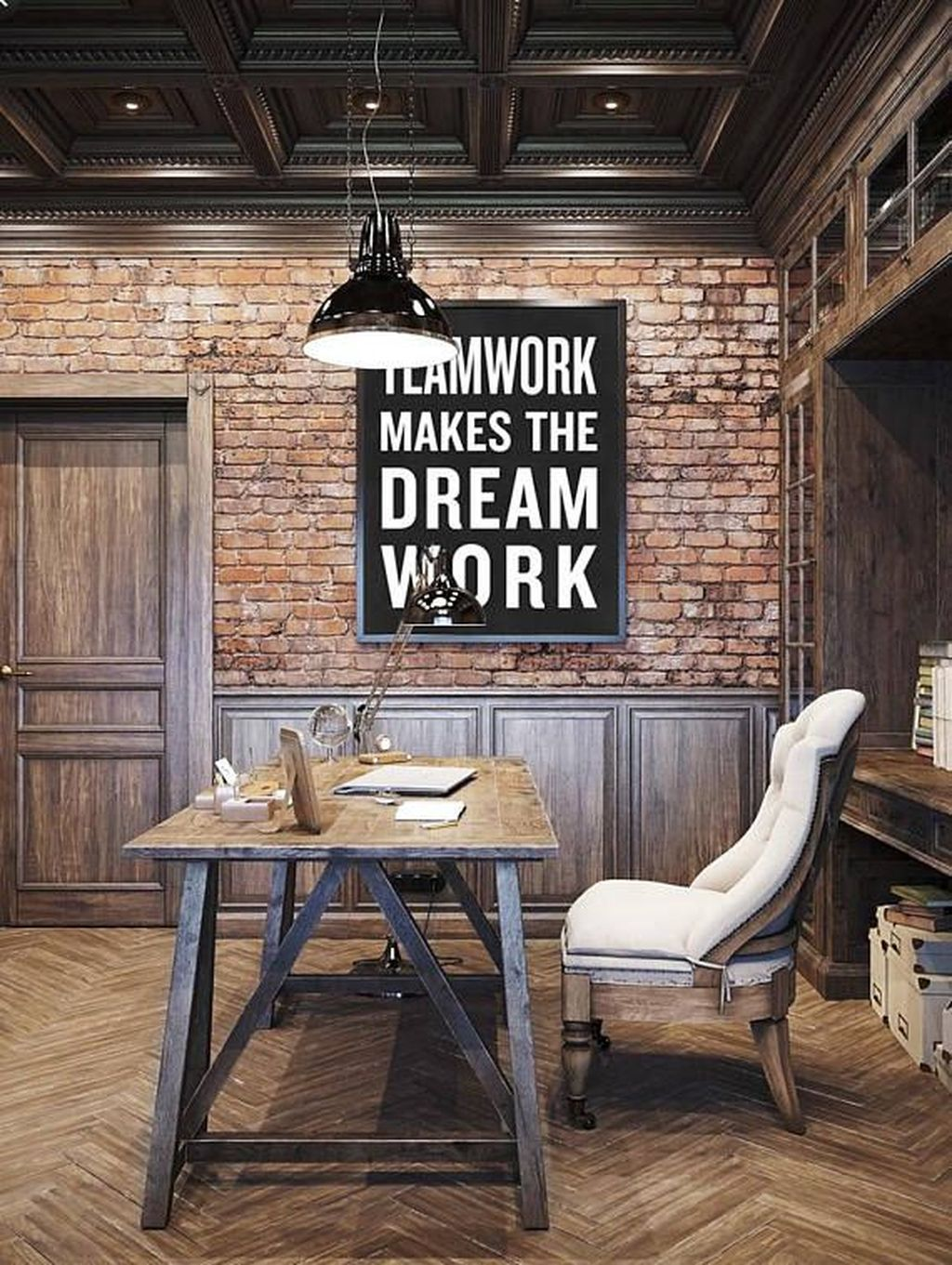 Gorgeous Vintage Farmhouse Office Decorating Ideas 30