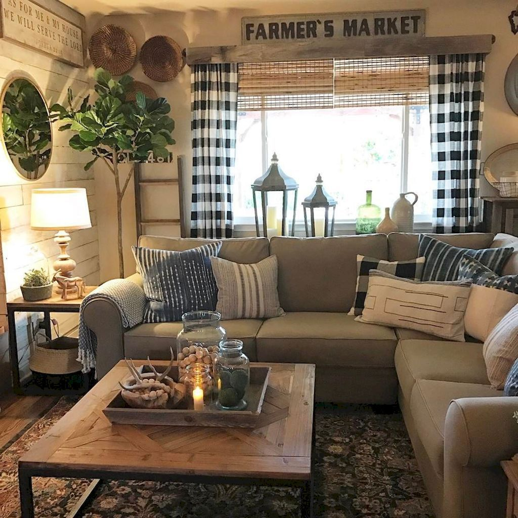 Incredible Rustic Farmhouse Living Room Design Ideas 12