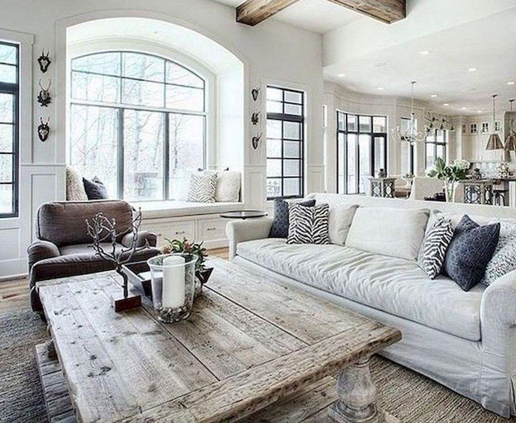 Incredible Rustic Farmhouse Living Room Design Ideas 14