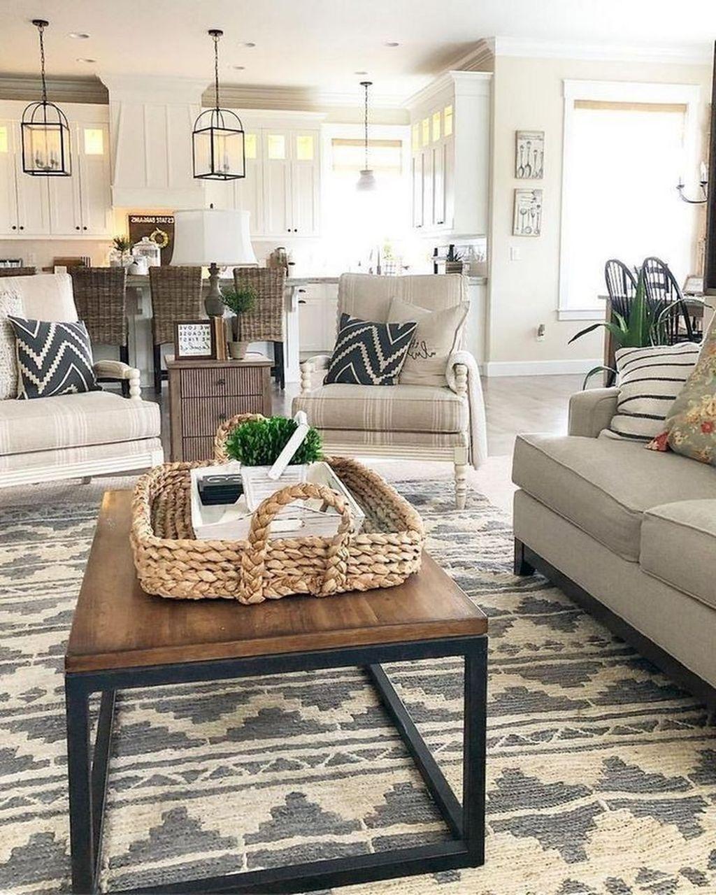 Incredible Rustic Farmhouse Living Room Design Ideas 18